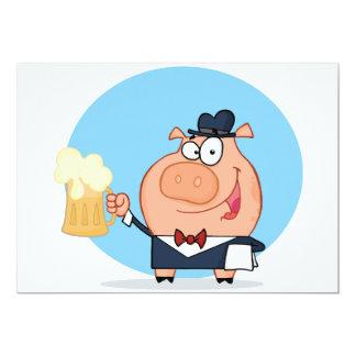 """Cerdo con la pinta de invitaciones de la cerveza invitación 5"""" x 7"""""""