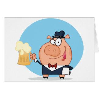 Cerdo con la pinta de tarjetas de nota de la cerve