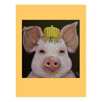 cerdo con la postal del gorra del maíz y del guisa