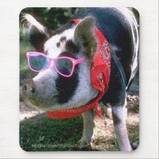 Cerdo con las gafas de sol y el pañuelo alfombrillas de ratones