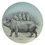 Cerdo con los cochinillos plato para fiesta