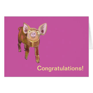 Cerdo Congrats del pasto Tarjeta De Felicitación