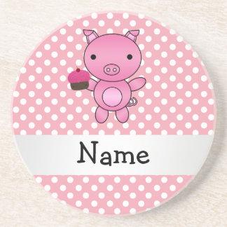 Cerdo conocido personalizado con los lunares de la posavasos manualidades