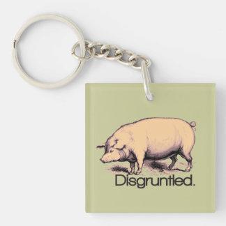 Cerdo contrariedad llavero cuadrado acrílico a una cara