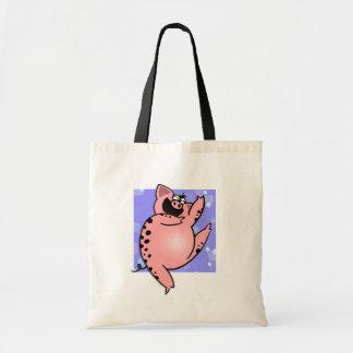 Cerdo de baile de baile del dibujo animado del cer bolsa