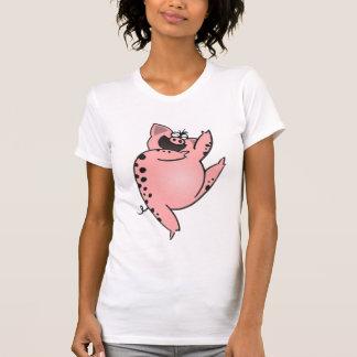 Cerdo de baile de baile del dibujo animado del playera