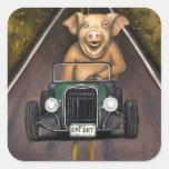 Cerdo de camino calcomanías cuadradass
