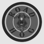 Cerdo de camino en gris etiqueta redonda