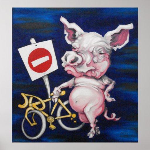 Cerdo de camino póster