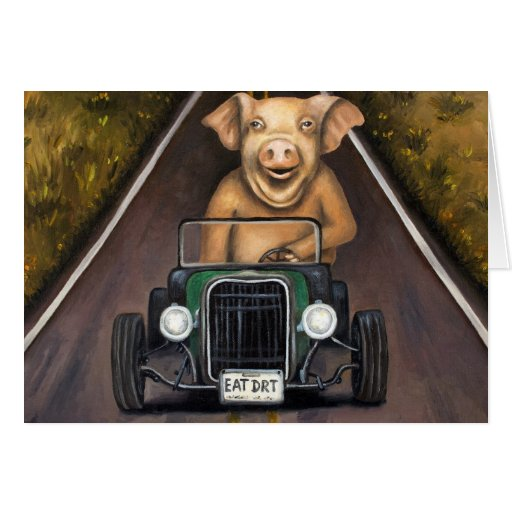 Cerdo de camino tarjeta de felicitación