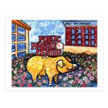 Cerdo de centro del mercado tarjetas postales