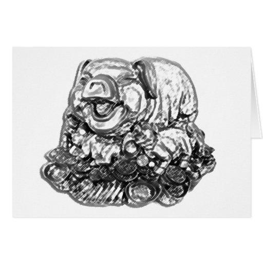 Cerdo de Feng Shui - B&W Tarjetón