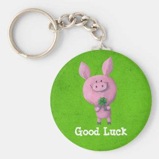 Cerdo de la buena suerte llavero redondo tipo pin