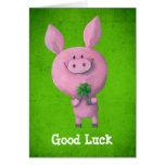 Cerdo de la buena suerte tarjetas