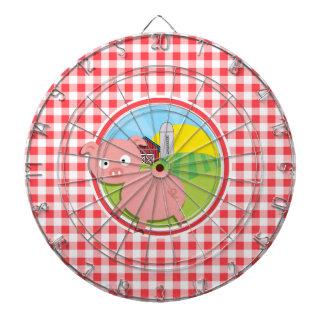 Cerdo de la granja; Guinga roja y blanca Tabla Dardos