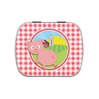 Cerdo de la granja; Guinga roja y blanca Jarrones De Dulces