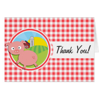 Cerdo de la granja; Guinga roja y blanca Tarjetas
