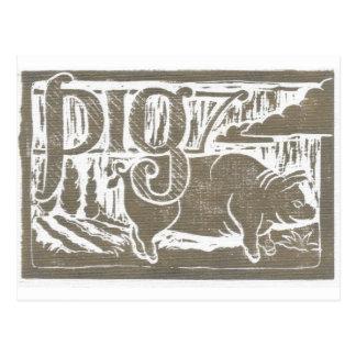 Cerdo de la impresión de bloque postal