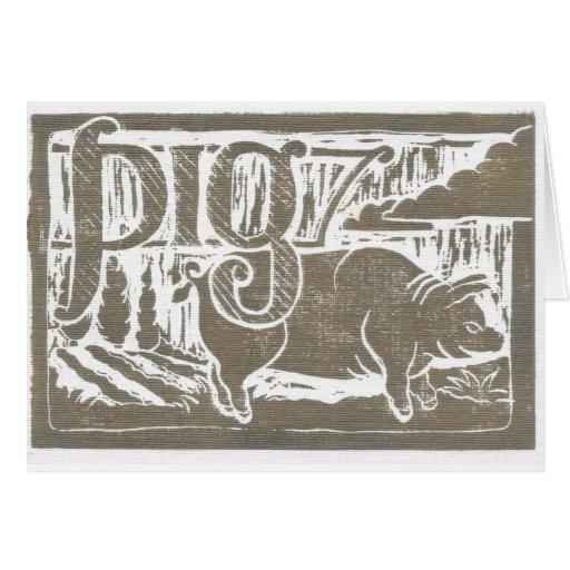 Cerdo de la impresión de bloque tarjetón