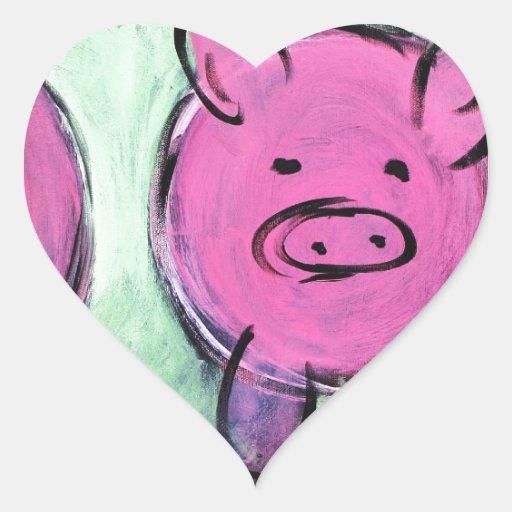 cerdo de la mamá calcomanías de corazones personalizadas