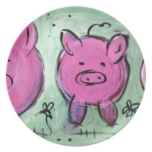 cerdo de la mamá plato de comida