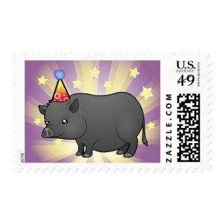 Cerdo de la miniatura del cumpleaños sellos postales