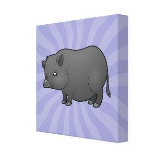Cerdo de la miniatura del dibujo animado impresion en lona