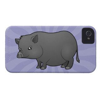 Cerdo de la miniatura del dibujo animado iPhone 4 protectores