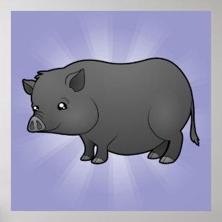 Cerdo de la miniatura del dibujo animado póster