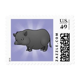 Cerdo de la miniatura del dibujo animado sello