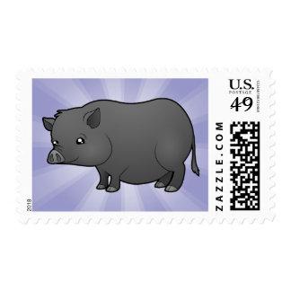Cerdo de la miniatura del dibujo animado sellos postales