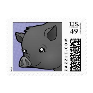 Cerdo de la miniatura del dibujo animado timbre postal