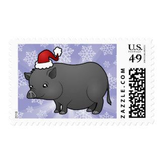 Cerdo de la miniatura del navidad sello