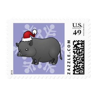 Cerdo de la miniatura del navidad sello postal