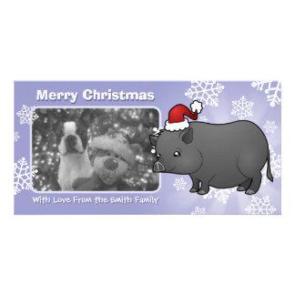 Cerdo de la miniatura del navidad tarjetas fotográficas