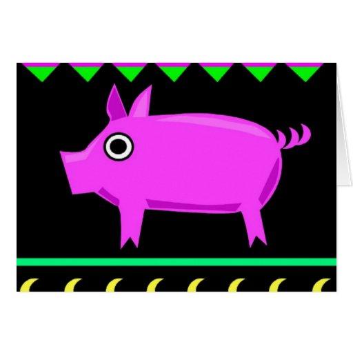 Cerdo de la tarjeta del animal del campo