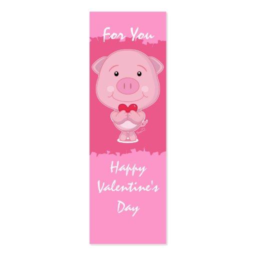 Cerdo de la tarjeta del día de San Valentín con la Plantilla De Tarjeta Personal