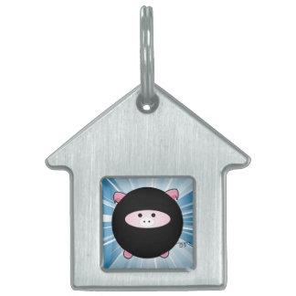 Cerdo de Ninja en azul Placa Mascota