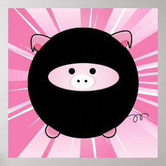 Cerdo de Ninja en la impresión rosada del poster