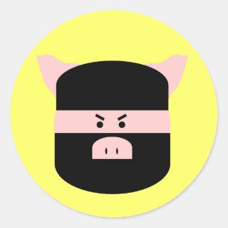 ¡Cerdo de Ninja! Pegatina Redonda