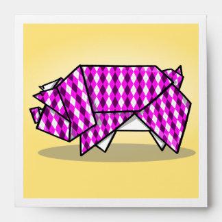 Cerdo de papel modelado rosa lindo sobres