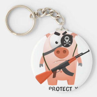 Cerdo de protección llavero redondo tipo pin