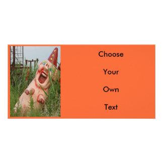 Cerdo de risa tarjeta fotográfica personalizada