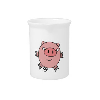 Cerdo de salto feliz jarron