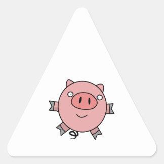 Cerdo de salto feliz pegatina triangular