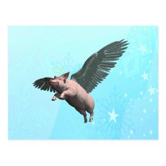Cerdo del ángel tarjeta postal