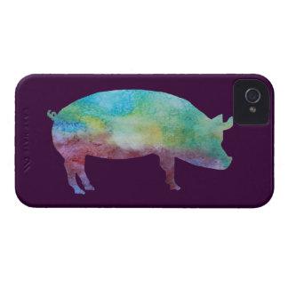 Cerdo del arco iris iPhone 4 Case-Mate carcasa