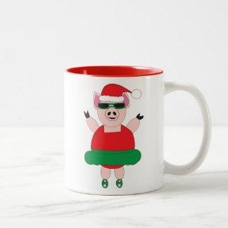 Cerdo del ballet del navidad taza