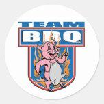 Cerdo del Bbq del equipo Pegatina Redonda