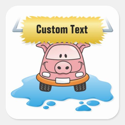 Cerdo del Carwash Pegatina Cuadrada